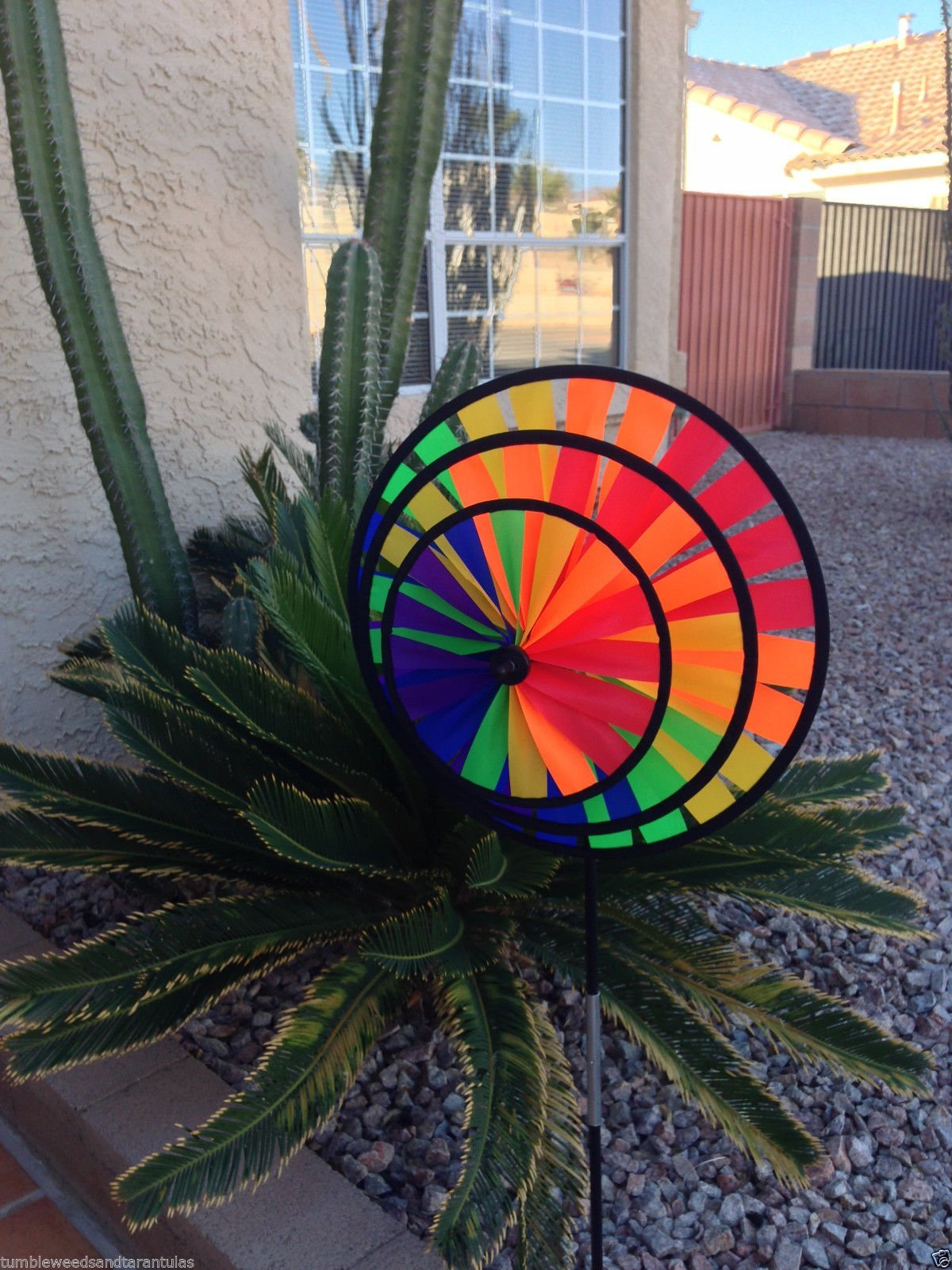 Triple Wheel Rainbow Wind Spinner For Porch Boat Or