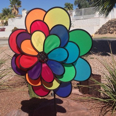 Windmill 24 Petal Triple Wheel Flower Wind Spinner