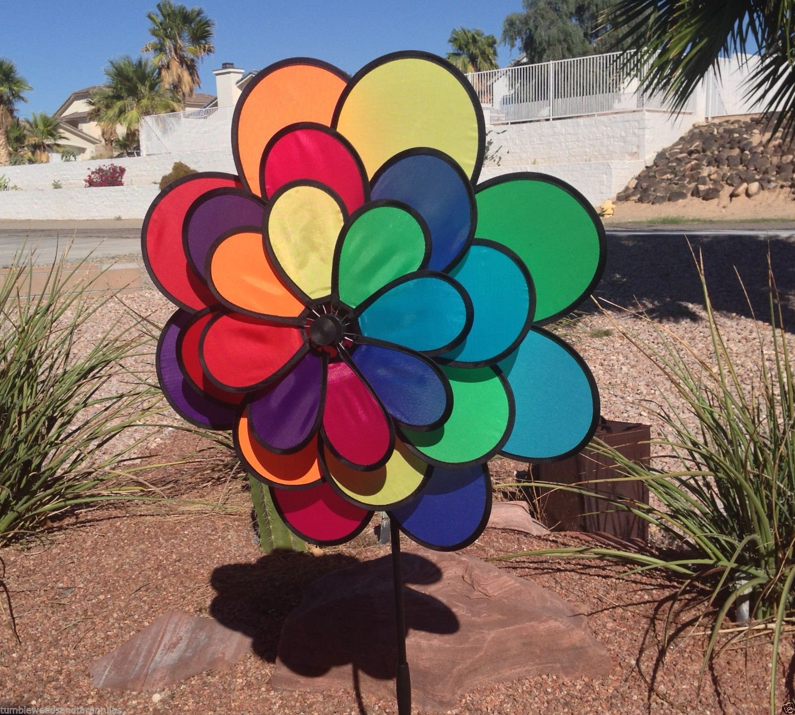 Windmill 24 Petal Triple Wheel Flower Wind Spinner Patio